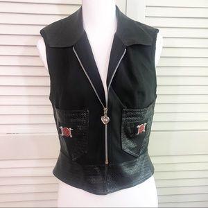 Cache love faux leather vest zip up black size 8